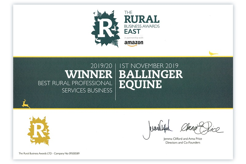 Winner Amazon Rural Business Awards Best Rural professional Services Business
